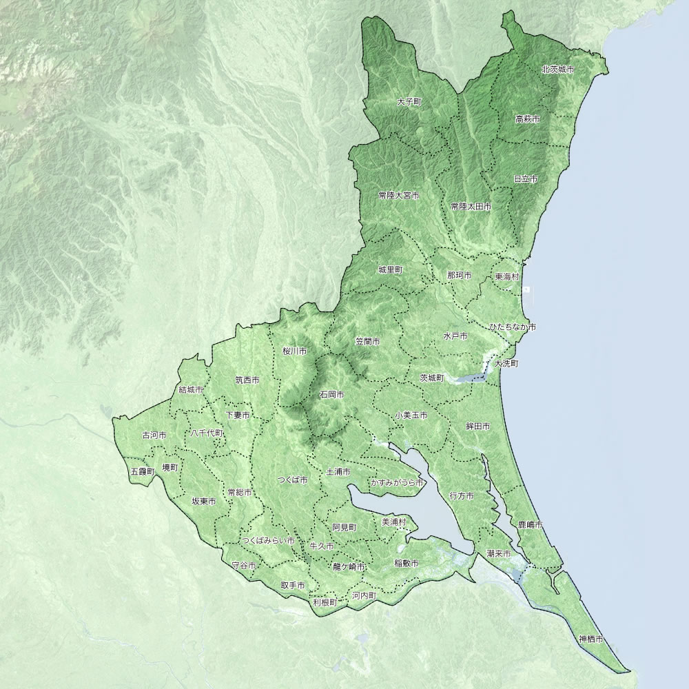 茨城県大気汚染常時監視測定局位置図